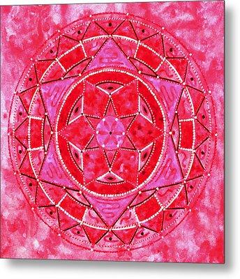 Red Crystal Mandala Metal Print by Vlatka Kelc