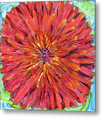 Red Dahlia Miniature 4 By 4 Inch Painting Metal Print