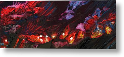 Red Demon With Pearls Metal Print by Miki De Goodaboom