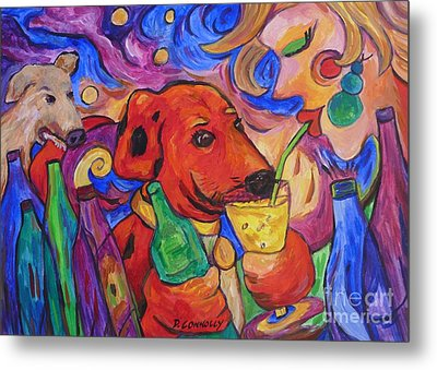 Red Dirk Dog And Rita Drink Metal Print by Dianne  Connolly