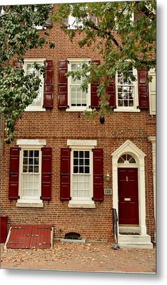 Red Door And Shutters Metal Print by Christopher Woods
