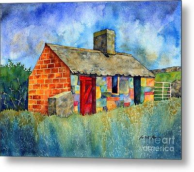 Red Door Cottage Metal Print by Hailey E Herrera