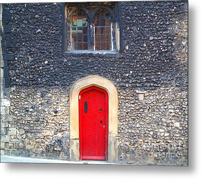 Metal Print featuring the photograph Red Door In Winchester Uk by Haleh Mahbod