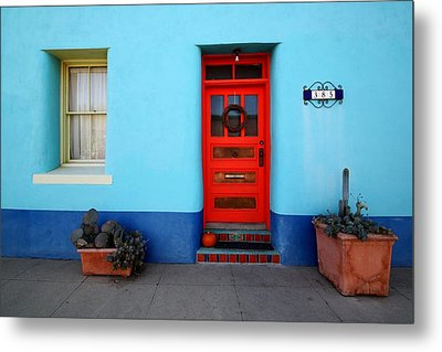Red Door On Blue Wall Metal Print