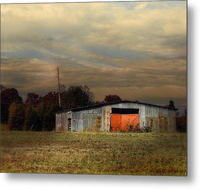 Red Doors - Barn At Sunset Metal Print by Jai Johnson