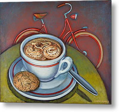 Red Dutch Bicycle With Cappuccino And Amaretti Metal Print