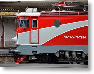 Metal Print featuring the photograph Red Electric Train Locomotive Bucharest Romania by Imran Ahmed