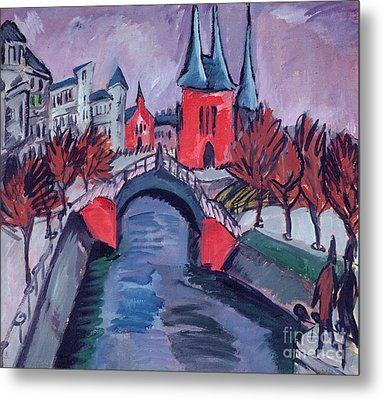 Red Elisabeth Riverbank Berlin Metal Print by Ernst Ludwig Kirchner