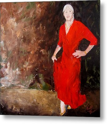 Metal Print featuring the painting Red Ellegance by Keith Thue