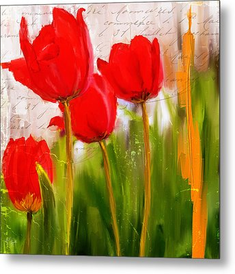 Red Enigma- Red Tulips Paintings Metal Print