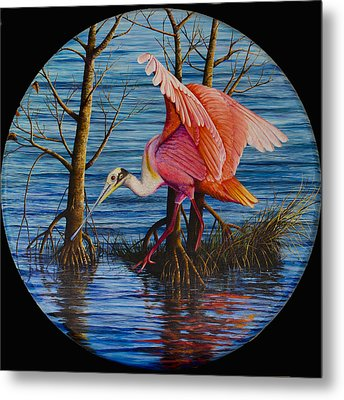 Metal Print featuring the painting Red Eye by AnnaJo Vahle