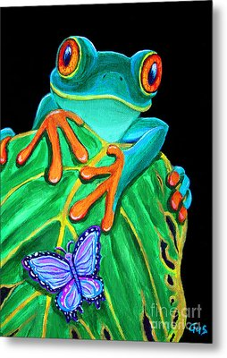 Red-eyed Tree Frog And Butterfly Metal Print by Nick Gustafson