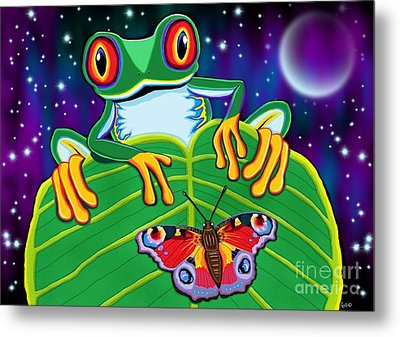 Red Eyed Tree Frog And Moth Metal Print by Nick Gustafson