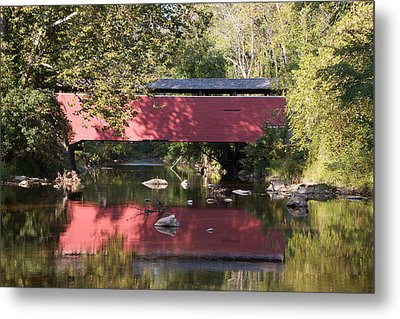 Red Fairhill Covered Bridge Two Metal Print by Alice Gipson