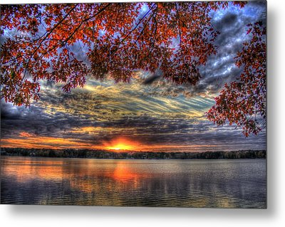 Metal Print featuring the photograph Good Bye Till Tomorrow Fall Leaves Sunset Lake Oconee Georgia by Reid Callaway