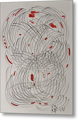 Red Fan Metal Print by Mary Carol Williams