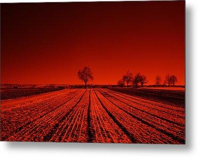 Red Farm Fields Metal Print