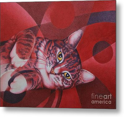 Metal Print featuring the painting Red Feline Geometry by Pamela Clements