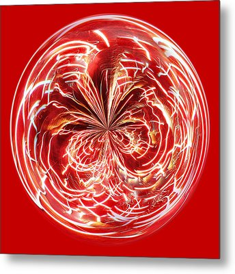Red Fireworks Orb Metal Print by Paulette Thomas