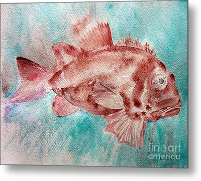 Metal Print featuring the painting Red Fish by Jasna Dragun