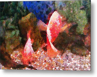 Red Fishes Painting Metal Print by Magomed Magomedagaev