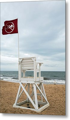 Red Flag At A Beach Metal Print by Jim West