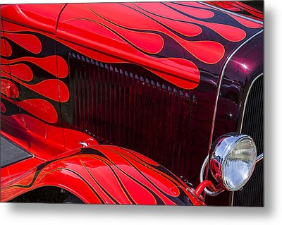 Red Flames Hot Rod Metal Print by Garry Gay
