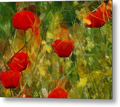 Red Flower Field Metal Print by Yury Malkov