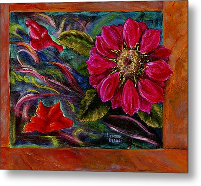 Metal Print featuring the painting Red Flower In Rust And Green by Lenora  De Lude