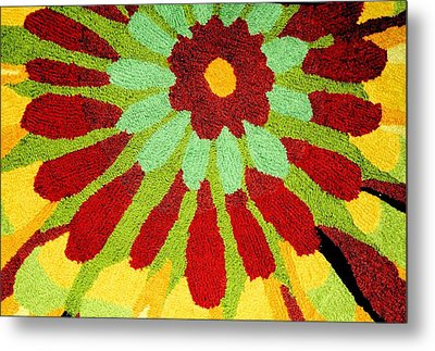 Metal Print featuring the photograph Red Flower Rug by Janette Boyd