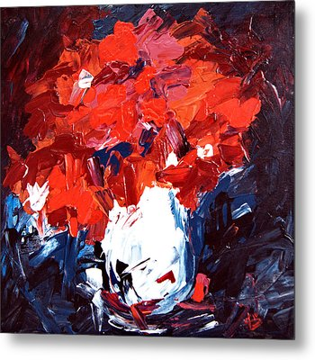 Red Flowers And White Vase   Metal Print by Alena Samsonov