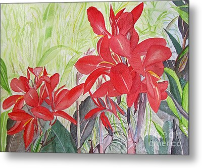 Metal Print featuring the painting Red Flowers by Carol Flagg