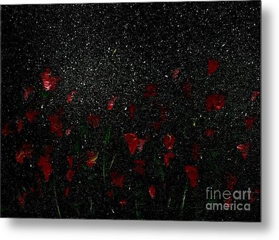 Metal Print featuring the painting Red Flowers In Moonlight by Becky Lupe