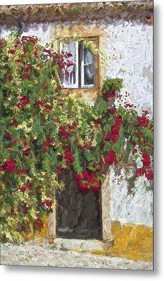 Red Flowers On Vine Metal Print