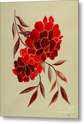 Red Flowers - Painting Metal Print