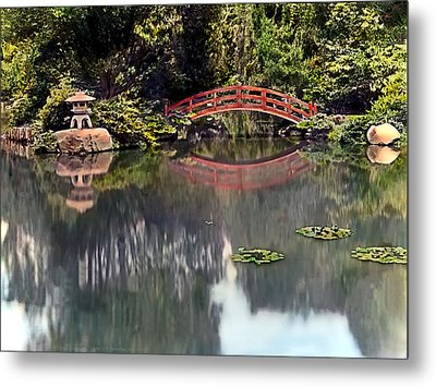 Red Foot Bridge Metal Print