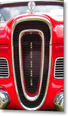 Metal Print featuring the photograph Red Ford Edsel Grill Detail by Mick Flynn