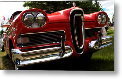 Metal Print featuring the photograph Red Ford Edsel by Mick Flynn