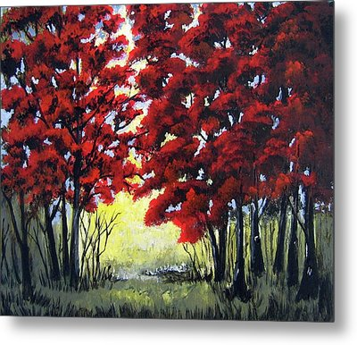 Metal Print featuring the painting Red Forest by Suzanne Theis