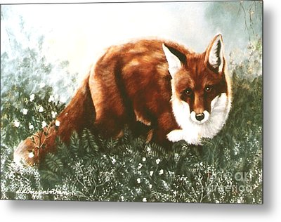 Metal Print featuring the painting Red Fox Hunting by DiDi Higginbotham