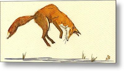 Red Fox Hunting Metal Print by Juan  Bosco