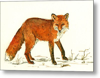 Red Fox In The Snow Metal Print by Juan  Bosco