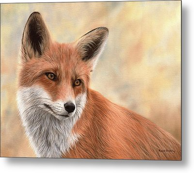 Red Fox Painting Metal Print by Rachel Stribbling