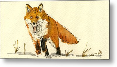 Red Fox Running Metal Print by Juan  Bosco