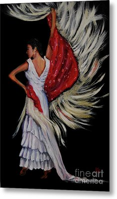 Red Fringed Scarf Metal Print by Nancy Bradley