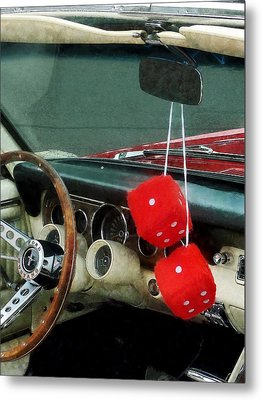 Red Fuzzy Dice In Converible Metal Print by Susan Savad