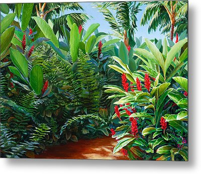 Red Garden Hawaiian Torch Ginger Metal Print by Karen Whitworth