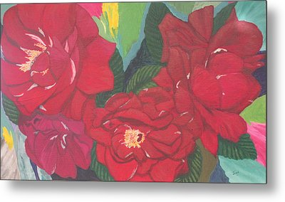 Metal Print featuring the painting Red Garden Roses by Hilda and Jose Garrancho