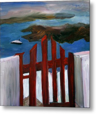 Metal Print featuring the painting Red Gate To Atlantis by Michael Helfen