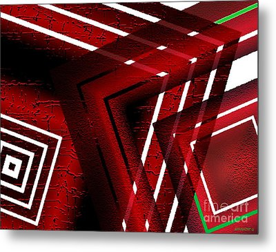 Red Geometric Design Metal Print by Mario Perez